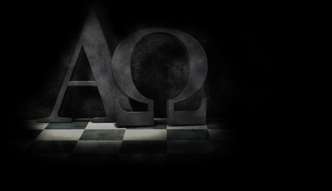 Ein schwarzes Alpha- und Omega-Symbol auf schwarzem Hintergrund