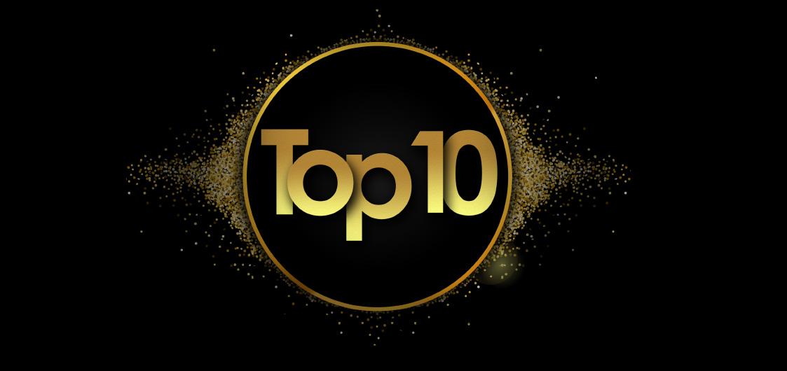 """Ein goldenes Siegel auf schwarzem Hintergrund mit dm Schriftzug """"Top 10"""""""