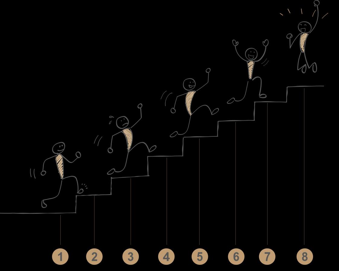 Strichmännchen klettert die Treppe hinauf