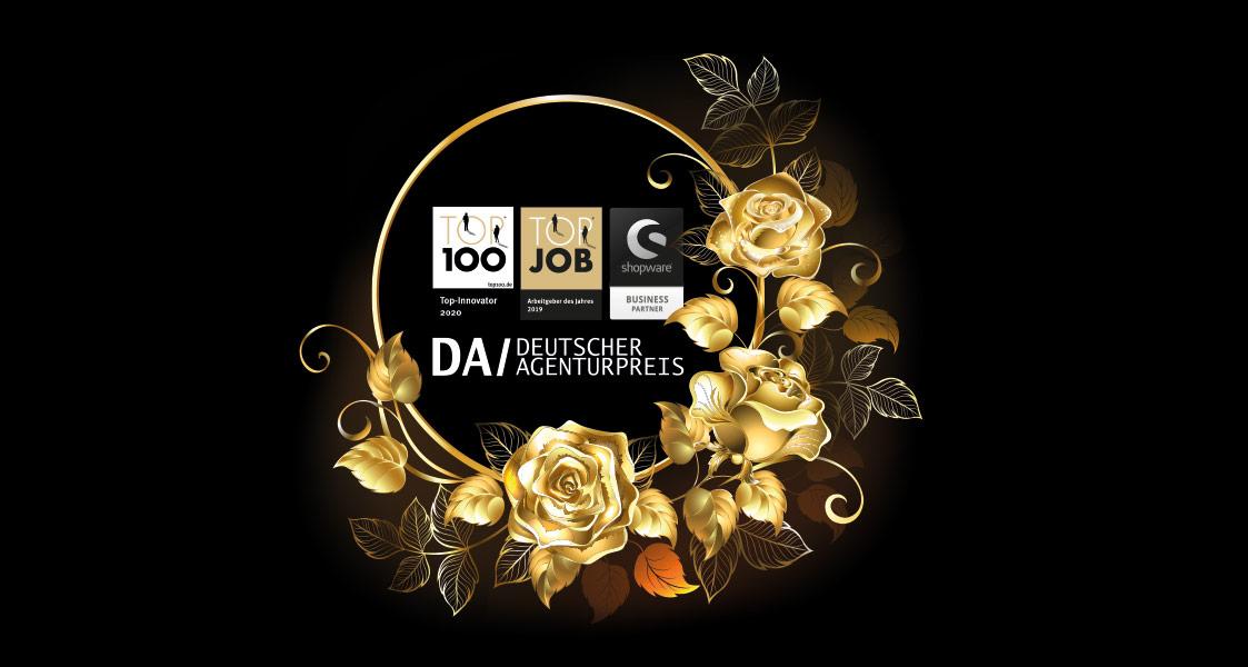 Auszeichnungen von arvenio marketing eingerahmt in goldene Blumen
