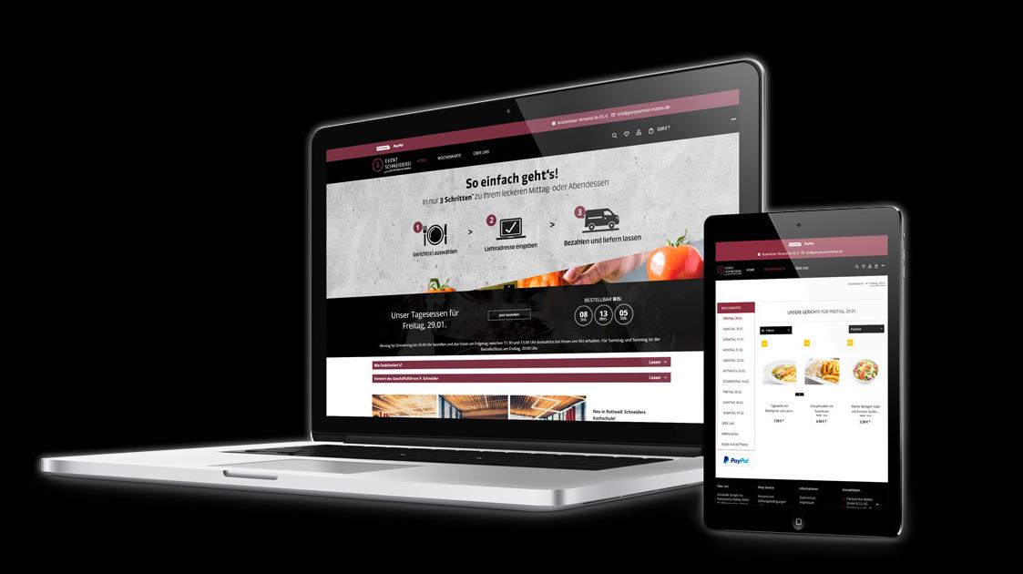 Bildschirme auf denen die Webseite von Schneider bringt's zu sehen ist