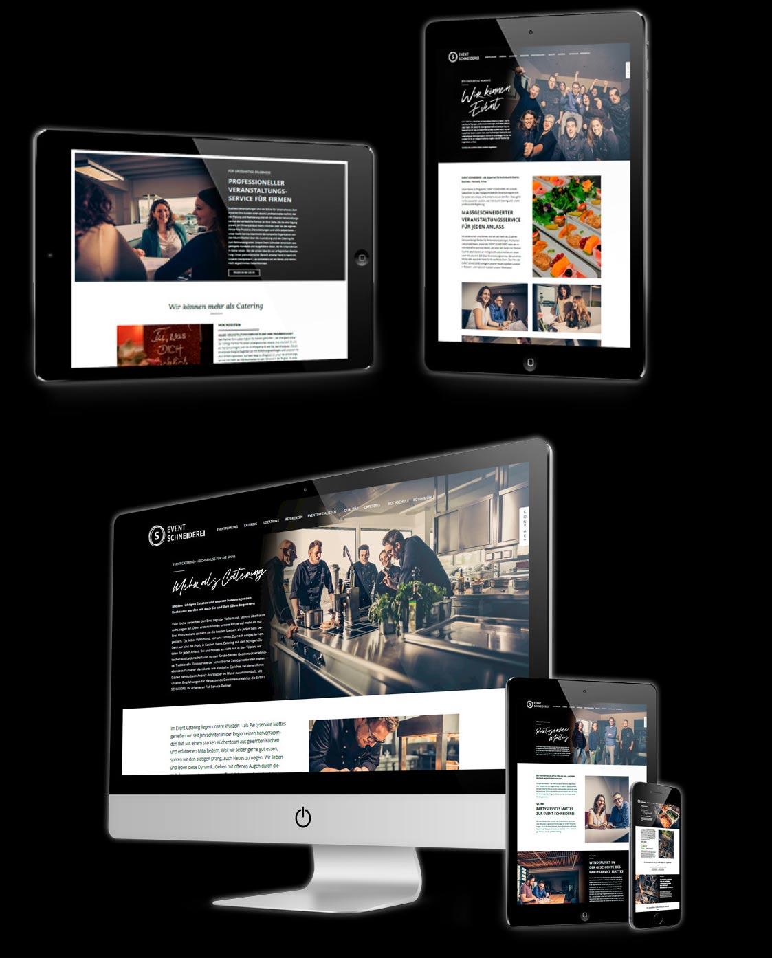 Verschiedene Bildschirme auf denen die neue Webseite von der Event Schneiderei zu sehen ist