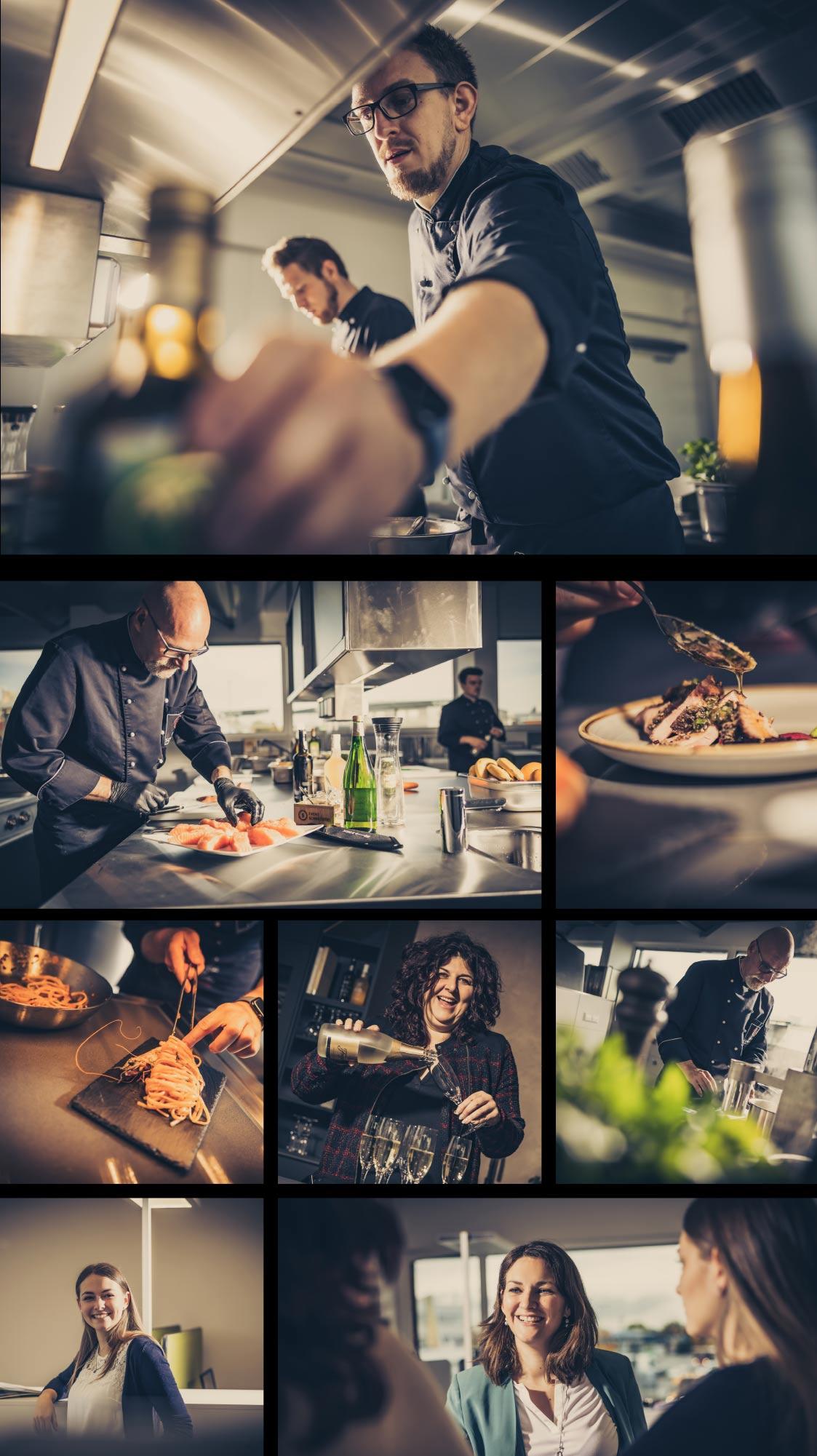 Eine Zusammenstellung verschiedener Bilder aus der Event Schneiderei und Schneiders Kochschule
