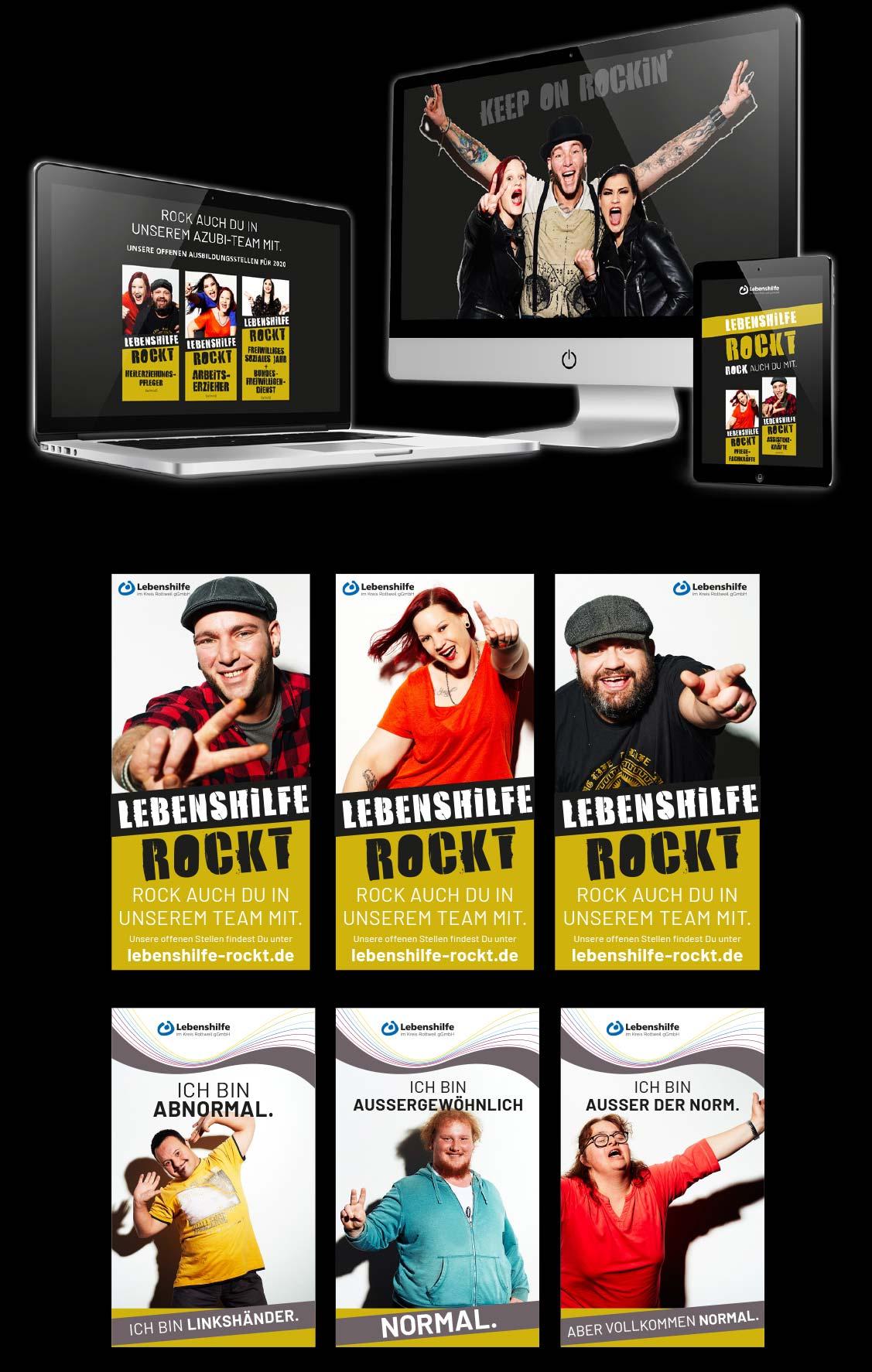 Eine Zusammenstellung von Bildschirmen mit der Lebenshilfe Rockt Seite und verschiedenen Plakat-Motiven