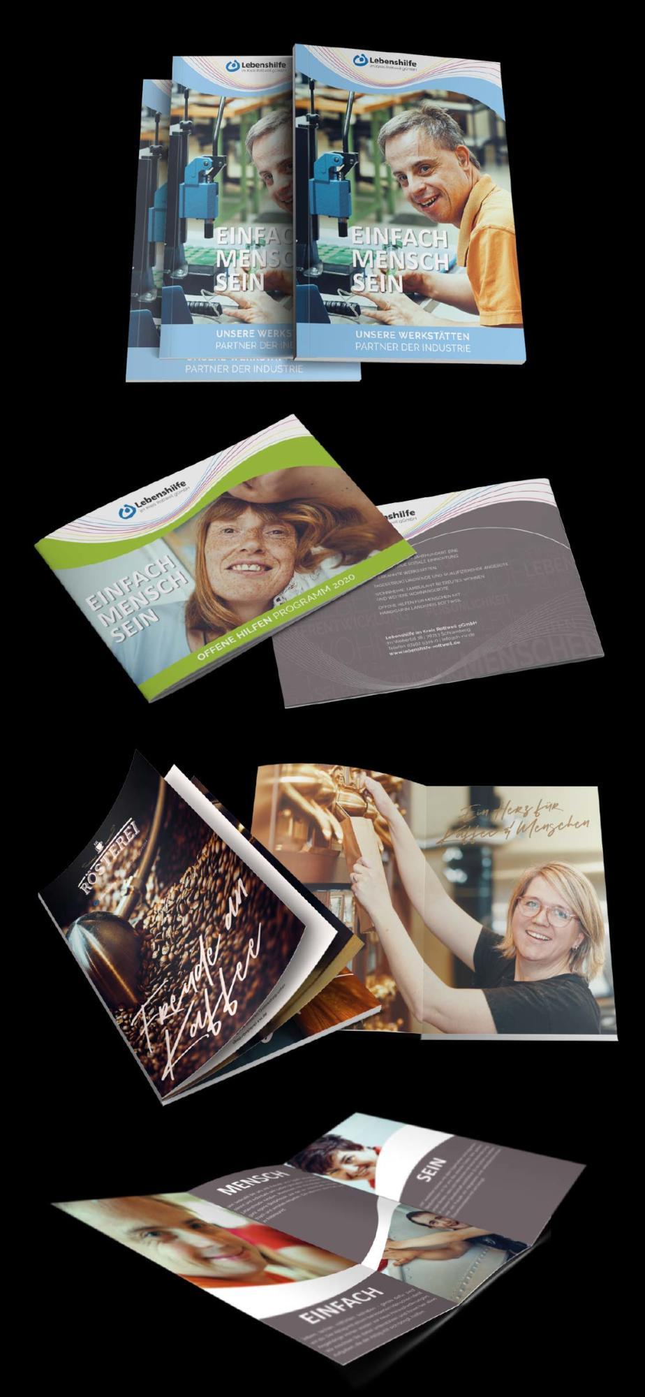 Verschiedene Broschüren der Lebenshilfe Rottweil