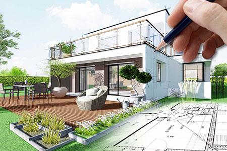 Eine Zeichnung eines Hauses mit kleinem Garten und Terrasse