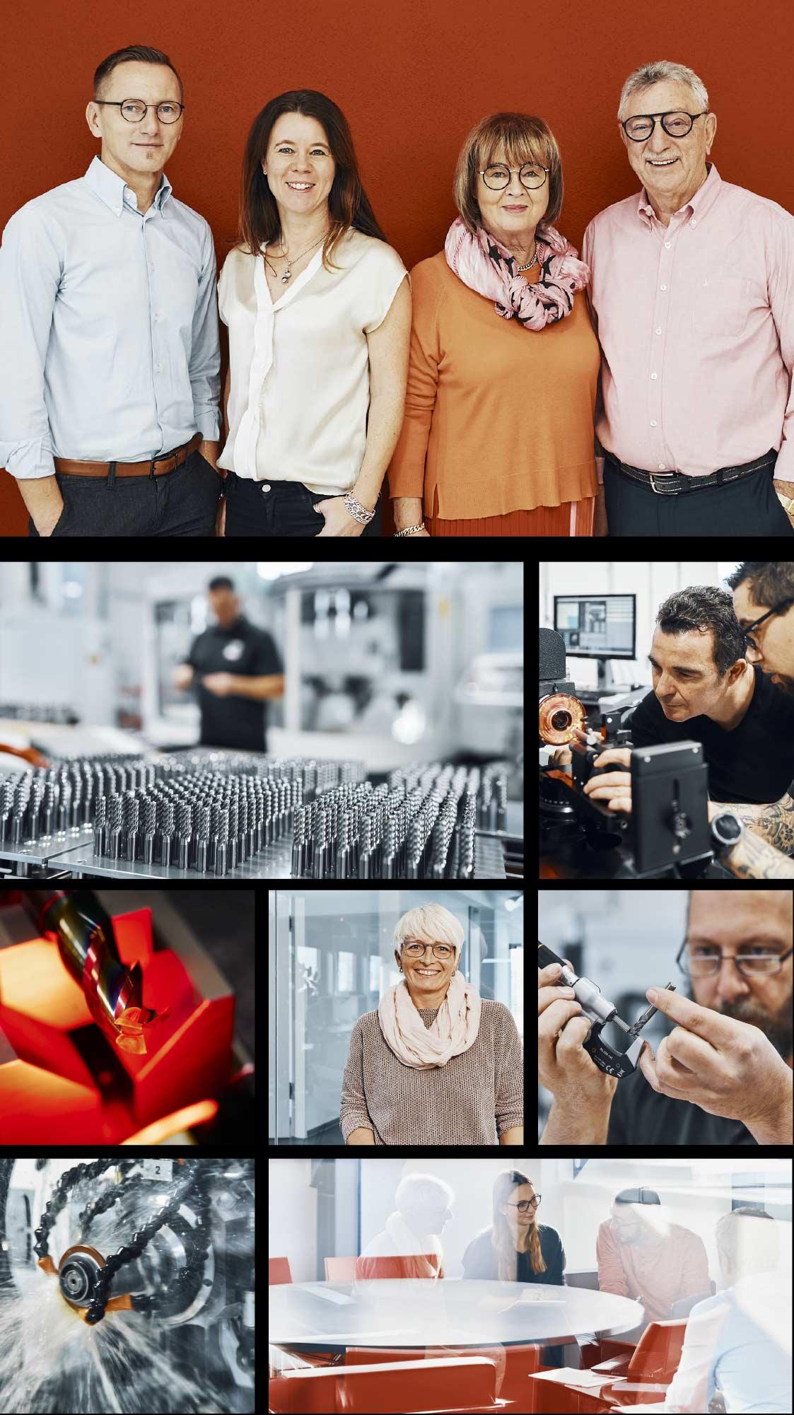 Eine Zusammenstellung aus Bildern des Nachreiner Teams, der Nachreiner Werkstatt, Nachreiner Ansprechpartner und eines Besprechungsraumes
