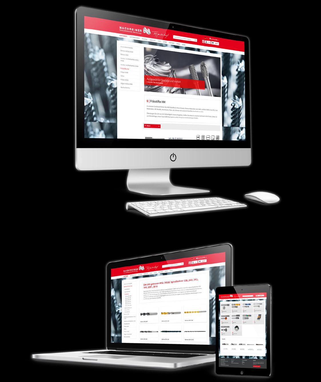 Drei Bildschirme auf denen die Nachreiner Webseite abgebildet ist