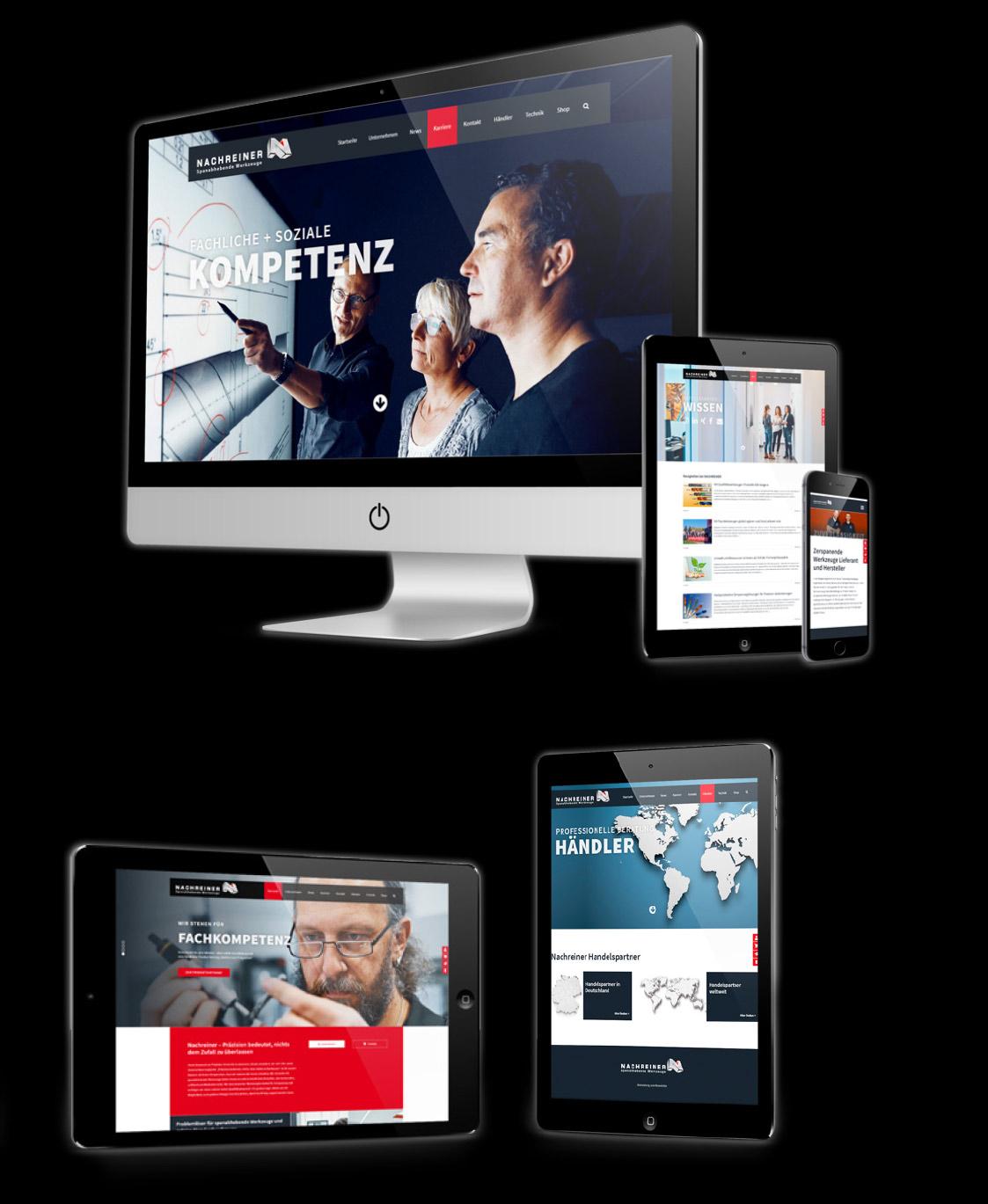 4 Bildschirme auf denen verschiedene Seiten der Nachreiner-Webseite abgebildet sind