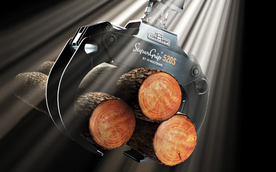 HULTDINS SuperGrip Greifer 520S hält abgeschnittene Baumstämme