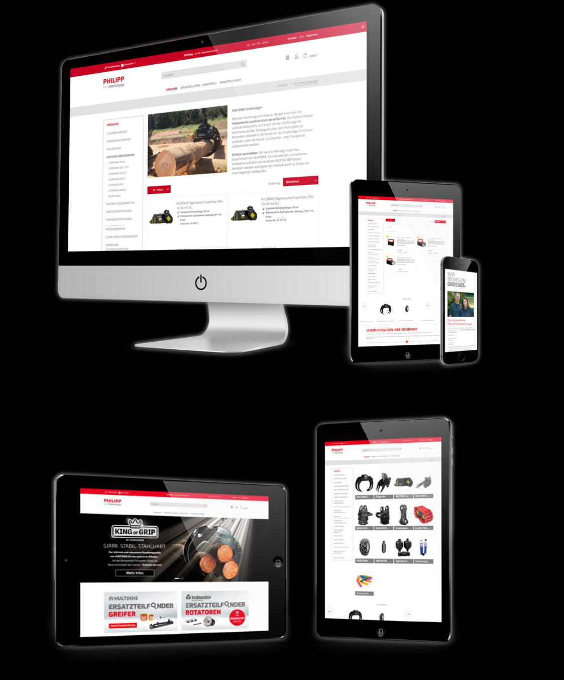 Verschiedene Bildschirme auf denen der Online-Shop von PHILIPP ForstWerkzeuge zu sehen ist