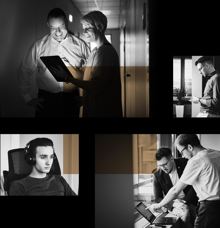 Eine Fotokollage des Teams der arven.io