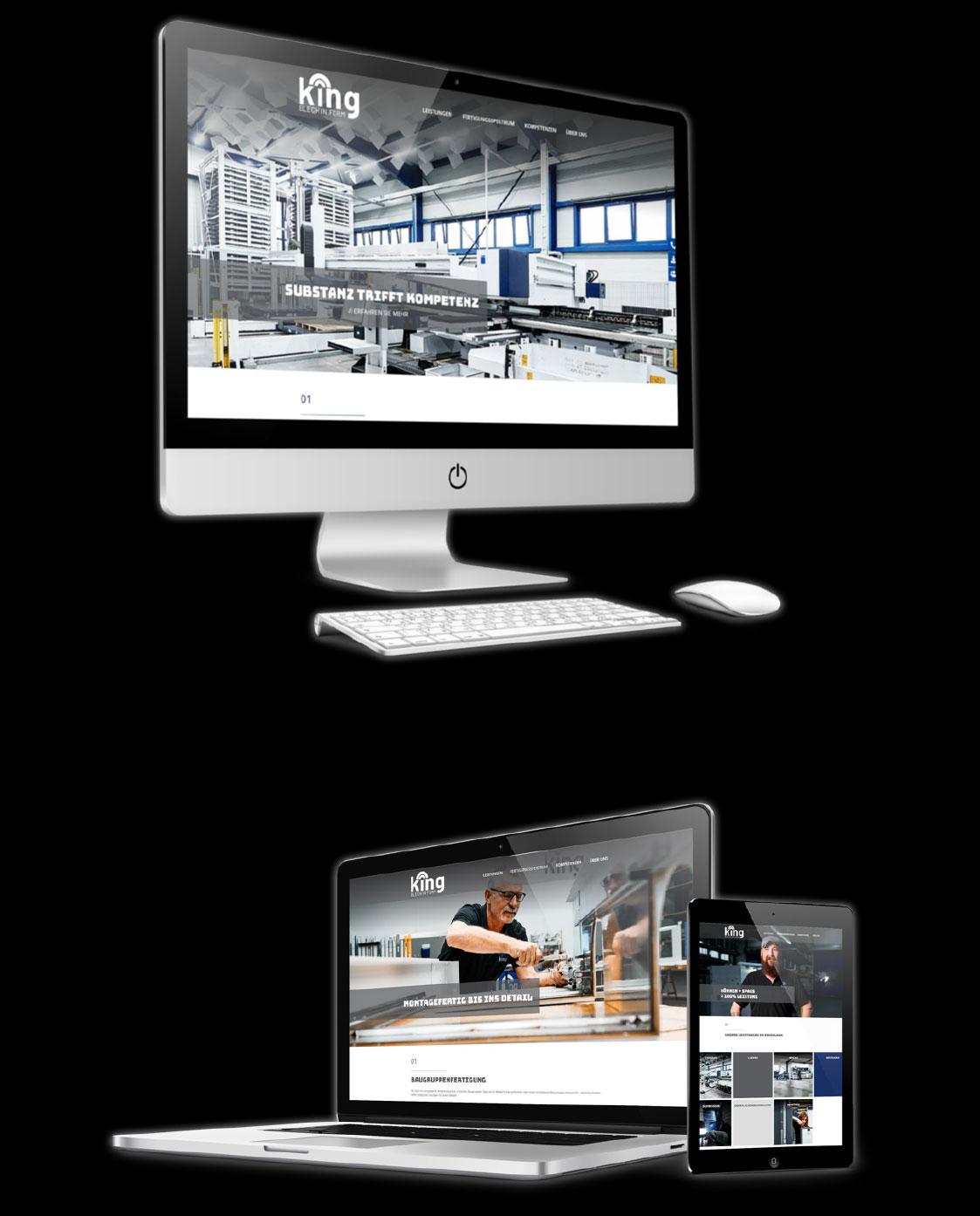 Drei Bildschirme auf denen die Webseite von King abgebildet ist