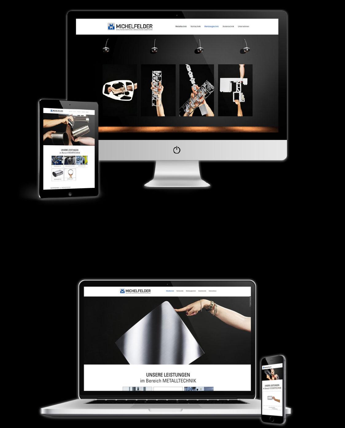 Vier Bildschirme auf denen die Webseite von MICHELFELDER abgebildet ist